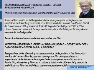 RELACIONES LABORALES -Facultad de Derecho – UDELAR FUNDAMENTOS FILOSÓFICOS