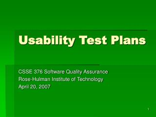 Usability Test Plans