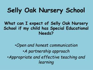 Selly Oak Nursery School