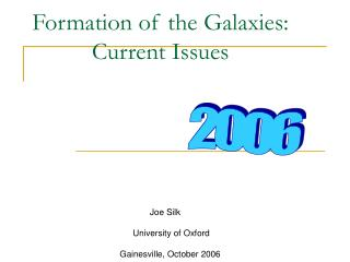 Formation of the Galaxies: Current Issues