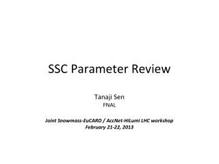 SSC Parameter Review
