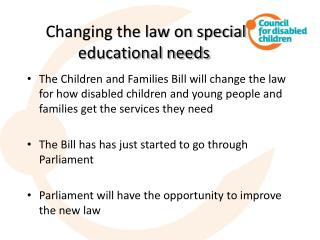 Changing the law on special educational needs