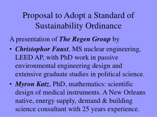 Proposal to Adopt a Standard of Sustainability Ordinance