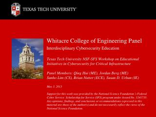 Whitacre  College of Engineering Panel Interdisciplinary  Cybersecurity  Education