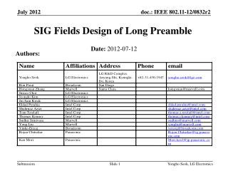 SIG Fields Design of Long Preamble