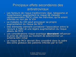 Principaux effets secondaires des antiretroviraux