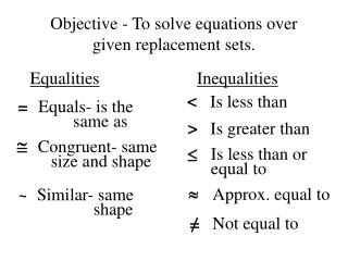 Objective - To solve equations over given replacement sets.