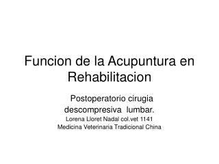 Funcion de la Acupuntura en Rehabilitacion