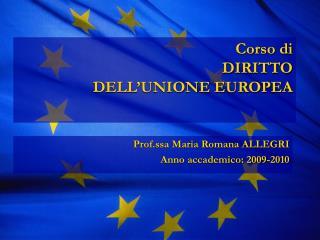 Corso di DIRITTO  DELL'UNIONE EUROPEA