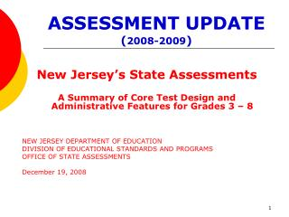 ASSESSMENT UPDATE 2008-2009