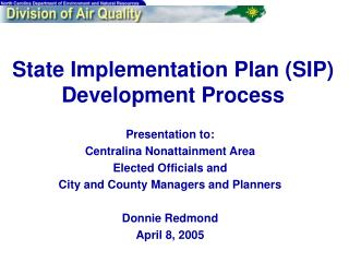 State Implementation Plan (SIP) Development Process