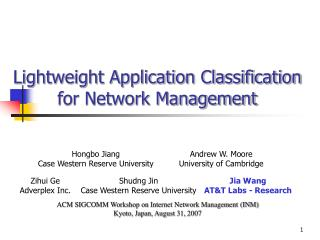 Lightweight Application Classification for Network Management