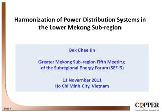 Bek Chee Jin Greater Mekong Sub-region Fifth Meeting  of the Subregional Energy Forum (SEF-5)