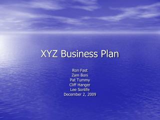 XYZ Business Plan
