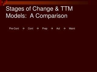 Stages of Change  TTM Models:  A Comparison