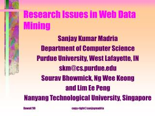 Research Issues in Web Data Mining