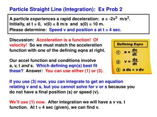 Particle Straight Line (Integration):  Ex Prob 2