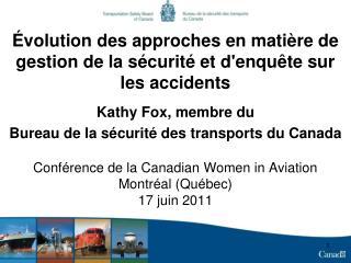 Évolution des approches en matière de gestion de la sécurité et d'enquête sur les accidents