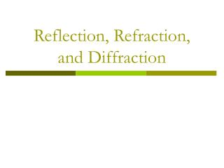 Reflection, Refraction, and Diffraction