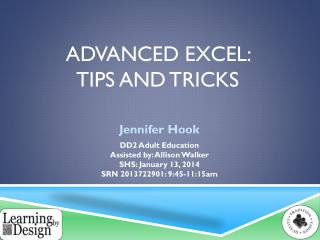 Advanced Excel:  Tips and Tricks