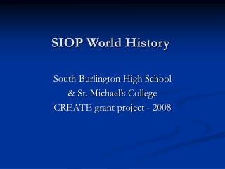 SIOP World History