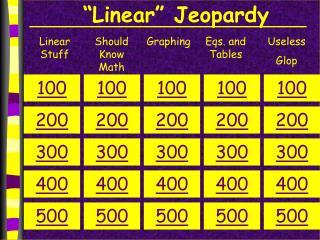 """Linear"" Jeopardy"