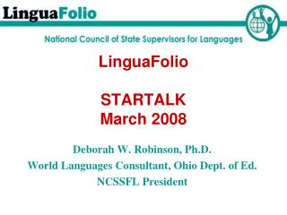 LinguaFolio   STARTALK  March 2008