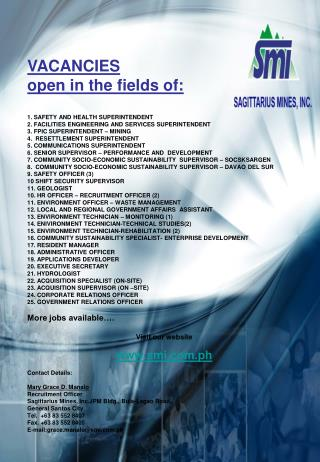VACANCIES  open in the fields of: 1. SAFETY AND HEALTH SUPERINTENDENT