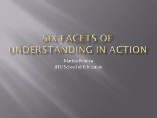 Six Facets Of Understanding  in action