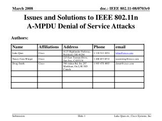 Issues and Solutions to IEEE 802.11n  A-MPDU Denial of Service Attacks