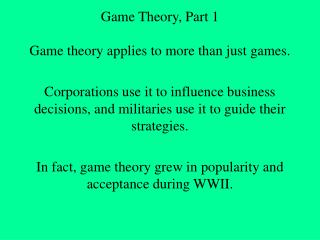 Game Theory, Part 1