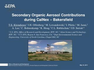 Secondary Organic Aerosol Contributions during CalNex – Bakersfield
