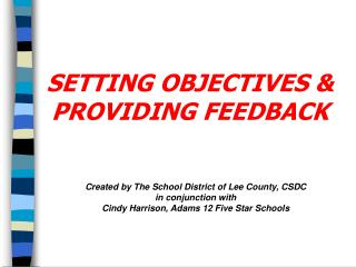 SETTING OBJECTIVES & PROVIDING FEEDBACK