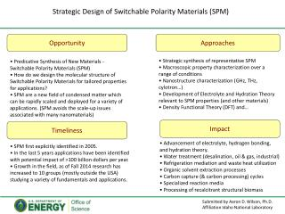 Strategic Design of Switchable  Polarity Materials (SPM )