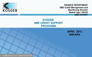 FINANCE DEPARTMENT SME Credit Management and Monittoring Division Nedret Ugur YAVUZ SME EXPERT