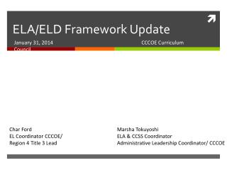 ELA/ELD Framework Update
