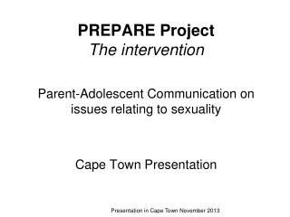 PREPARE Project   The intervention