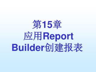 第 15 章 应用 Report Builder 创建报表