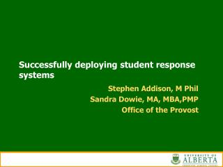Successfully deploying student response systems