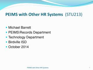 PEIMS with Other HR Systems   (STU213)