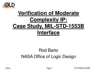 Verification of Moderate Complexity IP:  Case Study, MIL-STD-1553B Interface