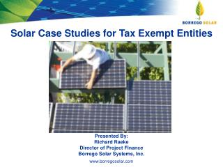 Solar Case Studies for Tax Exempt Entities