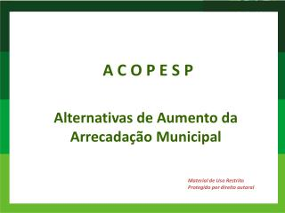 Alternativas de Aumento da Arrecadação Municipal