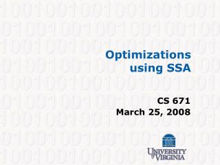 Optimizations  using SSA