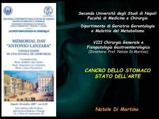Seconda Universit  degli Studi di Napoli Facolt  di Medicina e Chirurgia