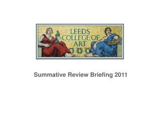 Summative Review Briefing 2011