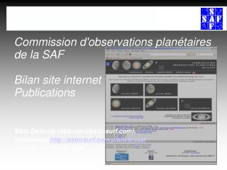 Commission d'observations planétaires de la SAF Bilan site internet Publications