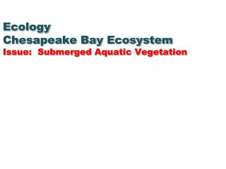 Ecology Chesapeake Bay Ecosystem Issue:  Submerged Aquatic Vegetation
