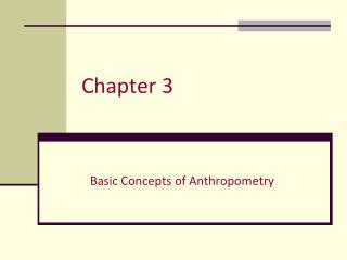 Basic Concepts of Anthropometry