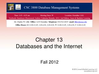 Chapter 13 Databases and the Internet